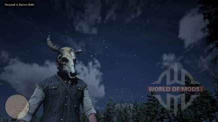 Arthur na máscara do crânio