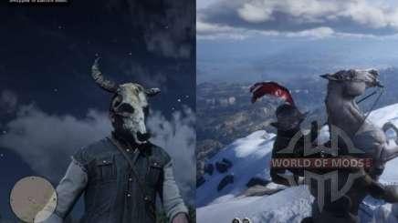 Capacete Morion e máscara de crânio em RDR 2