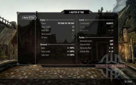 Widget de relógio de HUD para Skyrim quinto tela