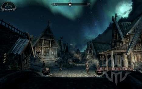 Widget de relógio de HUD para Skyrim segunda tela