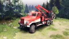 KrAZ-255 na cor vermelha para Spin Tires