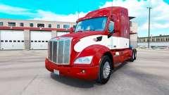Vermelho-branco de pele para o caminhão Peterbilt para American Truck Simulator