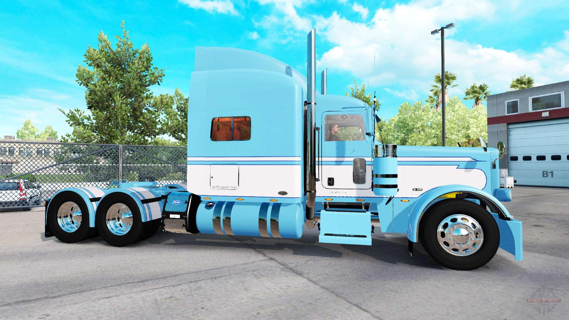 Pele A Luz Azul Branco Para O Caminhao Peterbilt 389 Para American Truck Simulator