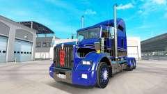 A pele Azul-preto no caminhão Kenworth T800 para American Truck Simulator