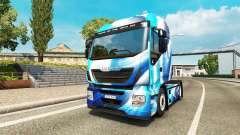 Pele Azul Abstrato para o caminhão Iveco para Euro Truck Simulator 2