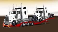 Baixa-quadro de arrasto com uma carga de tratores para American Truck Simulator