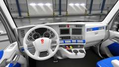 O interior é Branco e Azul para Kenworth T680 para American Truck Simulator