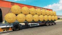Semi-reboque-plataforma com uma carga de fardos redondos para Euro Truck Simulator 2