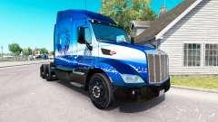 Pele Azul Leão de Transporte no trator Peterbilt para American Truck Simulator