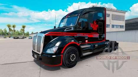 Pele Canadense Express Preto caminhão Kenworth para American Truck Simulator