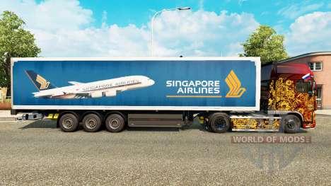 A Singapore Airlines pele para reboques para Euro Truck Simulator 2