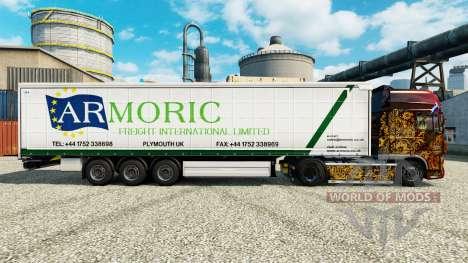 Pele Armoric Frete Internacional sobre o trailer para Euro Truck Simulator 2