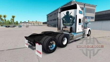 Pele Black Ops v1 no caminhão Kenworth W900 para American Truck Simulator