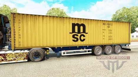 Semi-reboque-o navio de contentores MSC Remo Ser para Euro Truck Simulator 2
