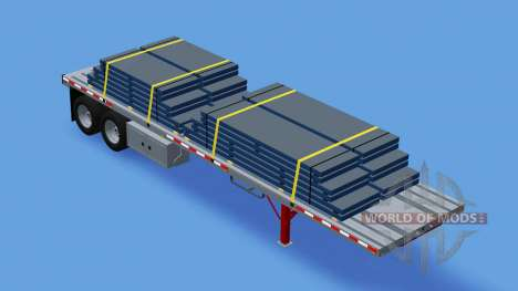 Dois eixos do semi-reboque de plataforma para American Truck Simulator