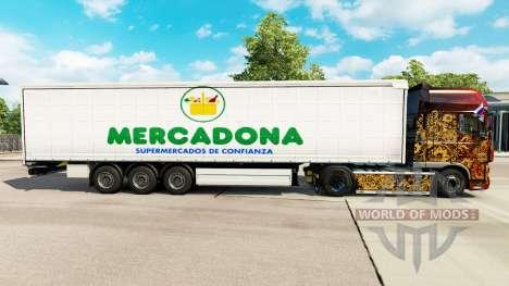Pele Mercadona em uma cortina semi-reboque para Euro Truck Simulator 2