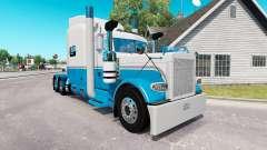 A pele de Bebê Azul e Branco para o caminhão Peterbilt 389 para American Truck Simulator
