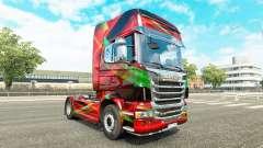 Vermelho Efeito de pele para o Scania truck para Euro Truck Simulator 2