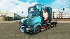 Linda Menina de pele para caminhão Scania T para Euro Truck Simulator 2