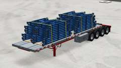 Quatro eixos do semi-reboque de plataforma com a carga para American Truck Simulator