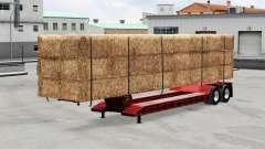 Baixa-quadro de arrasto com uma carga de fardos para American Truck Simulator
