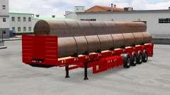 Semi-reboque-plataforma com tubos