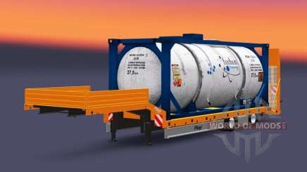 Baixa-quadro de arrasto Fliegl com cargas v3.0 para Euro Truck Simulator 2