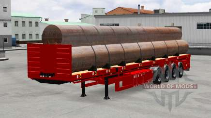 Semi-reboque-plataforma com tubos para American Truck Simulator