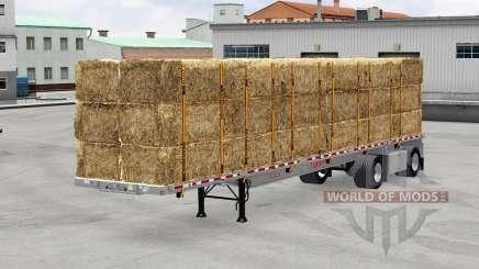 O semi-reboque de plataforma com a carga para American Truck Simulator