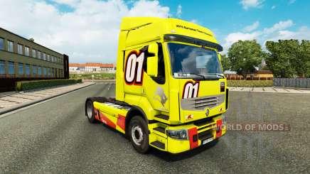 Corrida Amarelo pele para a Renault Premium caminhão para Euro Truck Simulator 2
