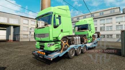 Semi-reboque-portador de carro com caminhões de carga para Euro Truck Simulator 2