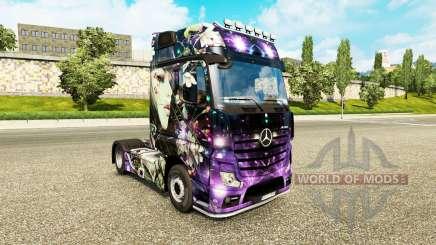 A pele do Pêssego Menina no trator Mercedes-Benz para Euro Truck Simulator 2