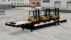 Baixa-quadro de arrasto com uma carga de empilhadeiras para American Truck Simulator