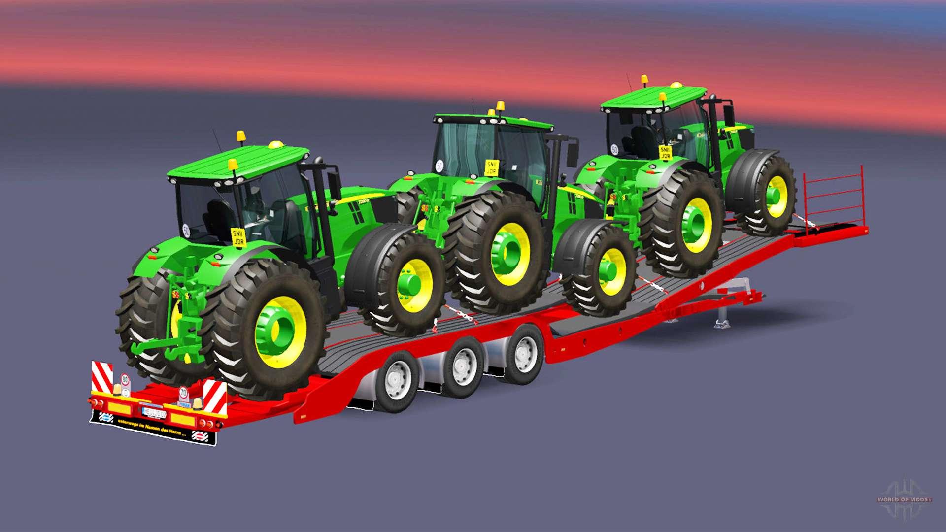 Baixa varrer com uma carga john deere 7280r v1 2 para euro truck simulator 2