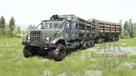 O KrAZ-255B 8x8 cinza escuro-cor verde para MudRunner