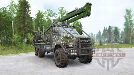 Caminhão de madeira Ural Next (4320-74E5) com manipulador para MudRunner